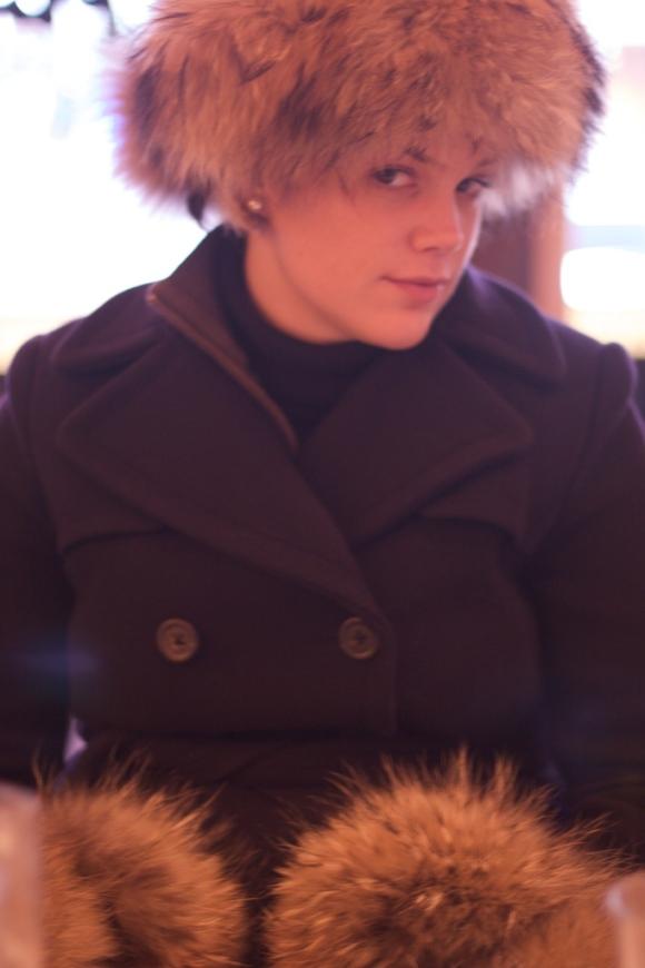 Catherine in full brunch regalia! Furs aplenty!